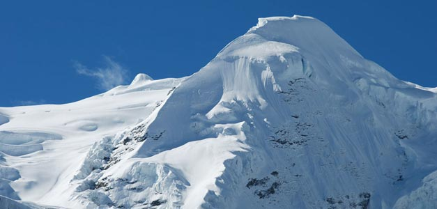 Mera peak with Amphulapcha La Pass and island Peak (6476m).