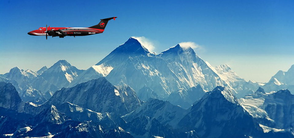 Mountain Flight  In Nepal Mt.Everest region.